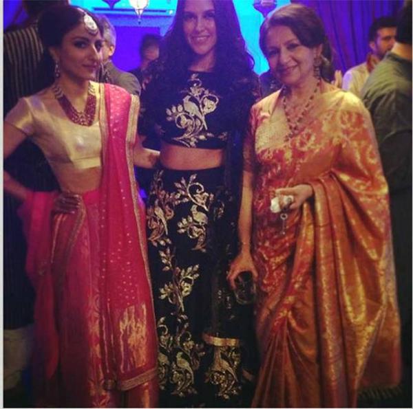 Reception Party: सोहा अली ख़ान अपनी मां शर्मिला टैगोर और दोस्त नेहा धूपिया के साथ। (स्रोत-इंस्टाग्राम)