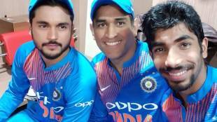 Jasprit Bumrah poses with MS Dhoni and Manish Pandey