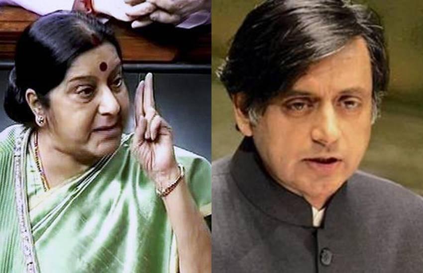 Sushma Swaraj, Shashi Tharoor, Hindi, Lok Sabha, Sushma Swaraj and Shashi Tharoor, Hindi language, Hindi Development, Lok Sabha on Hindi, congress leader, congress leader Shashi Tharoor, National news