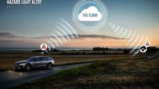volvo communicate hazard technology, volvo amazing technology, volvo car talks each other, amazing features in car, accident prevention features in car