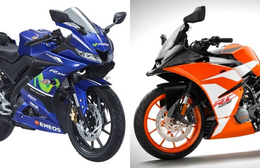 KTM RC 125 VS Yamaha YZF-R15 V3.0, KTM RC 125 vs Yamaha R15, KTM RC price, KTM RC 125 features, KTM RC 125 detail, Yamaha YZF-R15 price, Yamaha YZF-R15 speed, yamaha bikes, ktm bikes