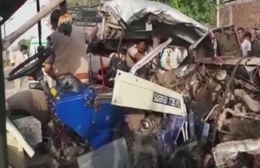truck rammed truck trolley