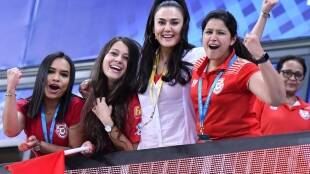 KXIP owner Priety Zinta celebrates thier win over SRH