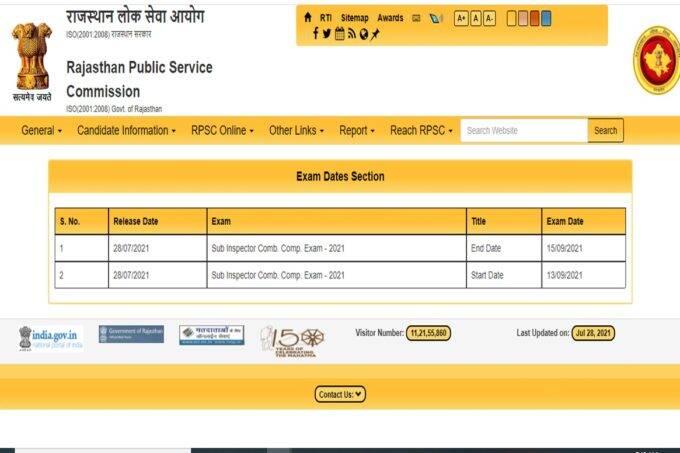RPSC SI recruitment 2021, RPSC SI exam 2021, RPSC, Rajasthan Police SI Recruitment 2021