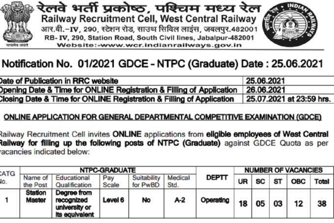 West Central Railway (WCR) recruitment 2021, jobs at Station Master Posts Recruitment 2021, Sarkari, railway recruitment 2021