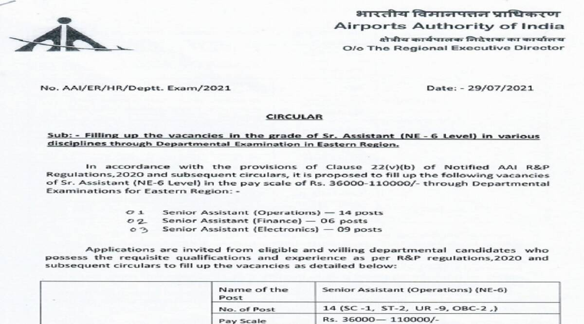 AAI Recruitment 2021: Apply for 29 Sr Assistant posts till August 31 at aai.aero