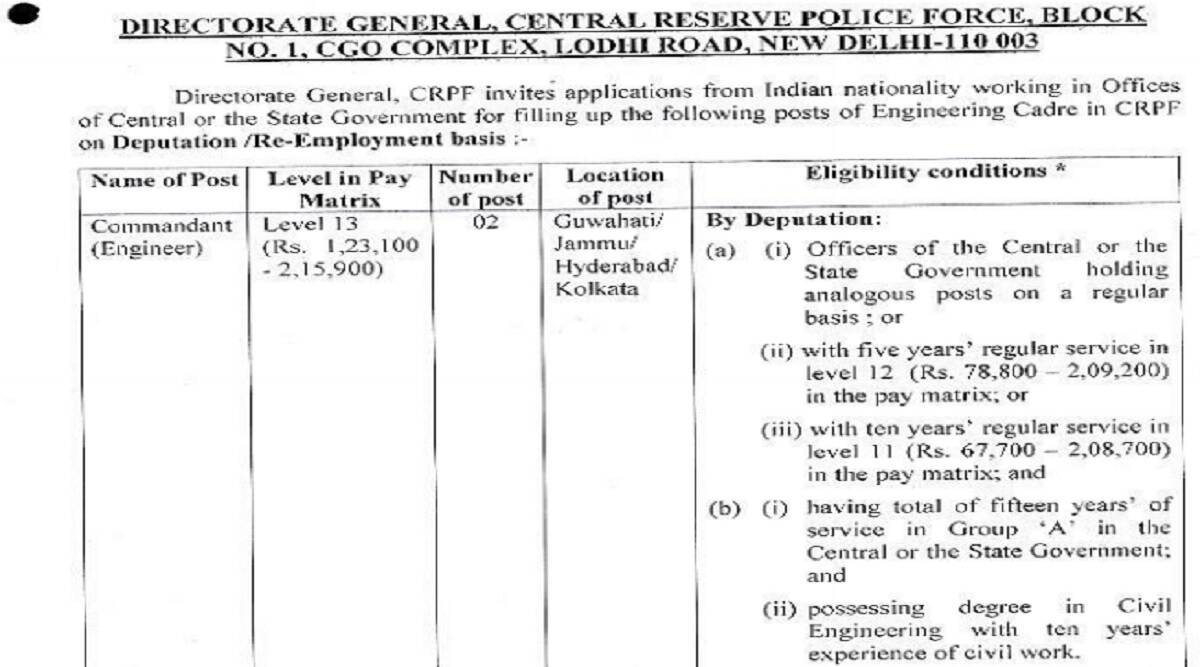 CRPF Recruitment 2021: Apply for Commandant and Dy Commandant posts at crpf.gov.in
