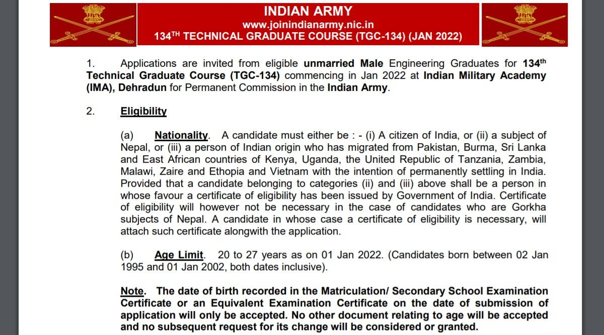 Indian Army Recruitment 2021: Apply online for Technical Graduate Course at joinindianarmy.nic.in before 15 September 2021. Check here for details