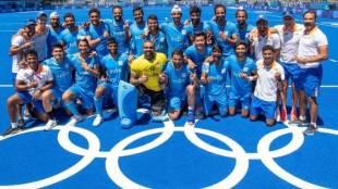 Indian Hockey players celebrating victory Tokyo Olympics