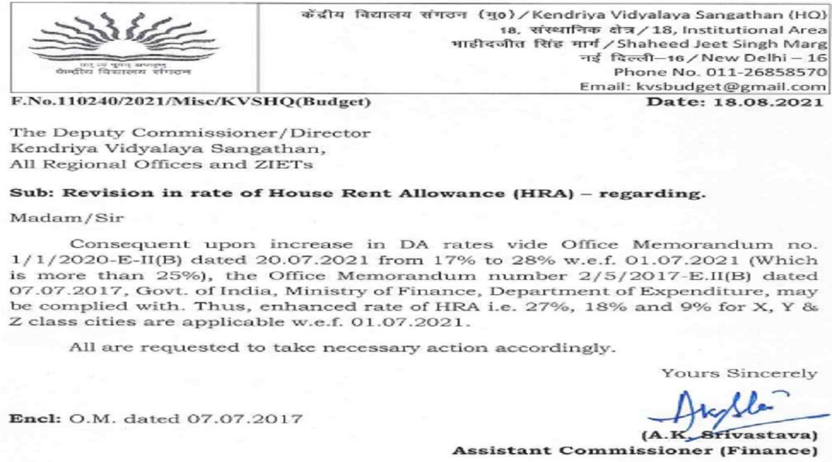 KVS PGT TGT PRT Teacher Salary 2021: DA HRA Revised for Kendriya Vidyalaya Teachers under 7th Pay Commission