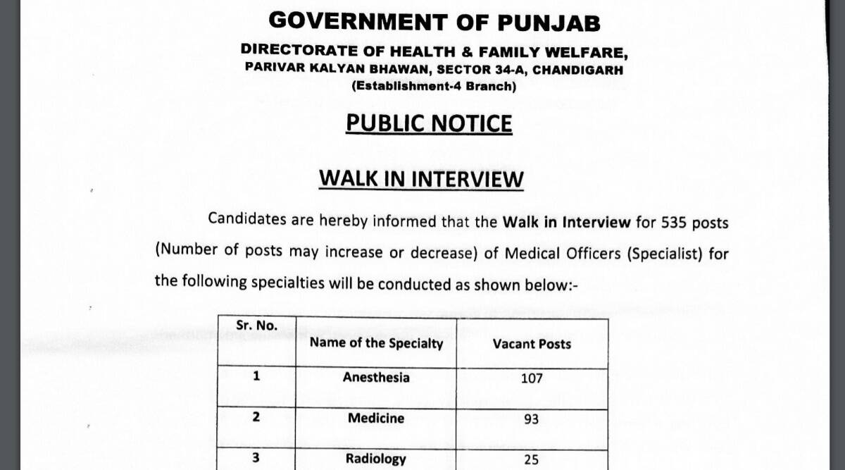 Sarkari Naukri 2021: Apply for medical officer posts to appear for walk in interview.  Check here for eligibility criteria and other details