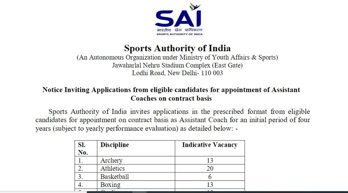 SAI Recruitment for 220 Coach Posts, Know here How to Apply online at sportsauthorityofindia.nic.in