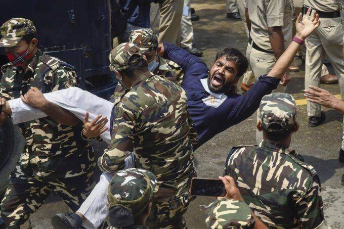 Youth Congress activist during protest over unemployment