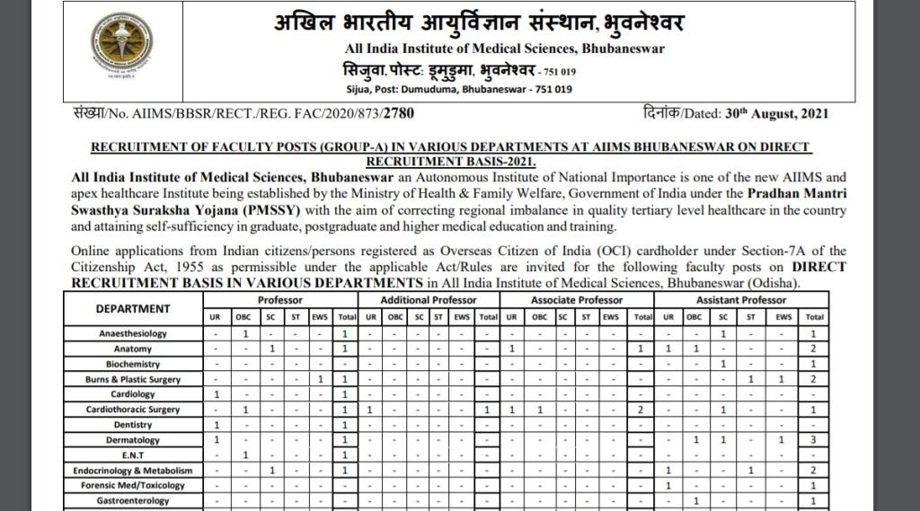AIIMS Recruitment 2021, AIIMS Bhubaneswar Recruitment, AIIMS Bhubaneswar Recruitment 2021, AIIMS Bhubaneswar Recruitment Notification, AIIMS Bhubaneswar Professor Recruitment, AIIMS Bhubaneshwar Professor Recruitment Notification