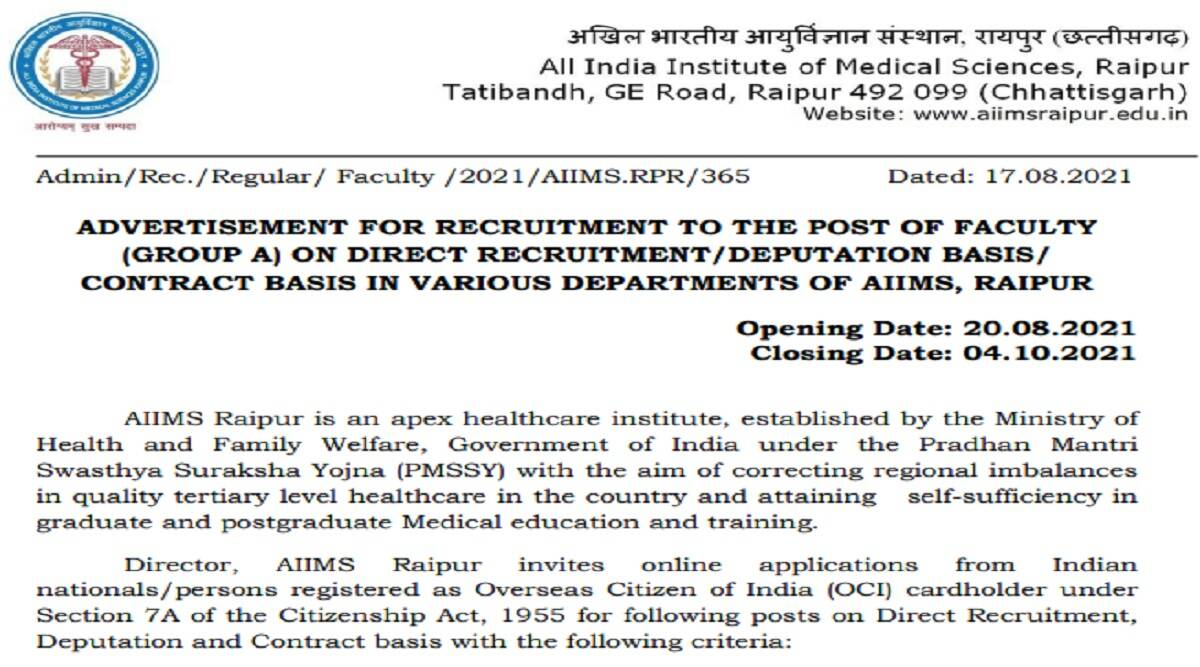 AIIMS Recruitment 2021: Apply Online for 168 Faculty Posts at aiimsraipur.edu.in