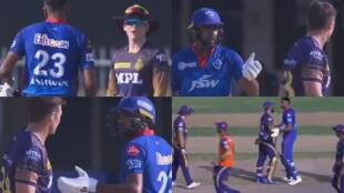 ipl-2021-ravichandran-ashwin-fights-with-eoin-morgan-tim-southee-dinesh-karthik-and-field-umpires-came-in-between-also-coach-ricky-ponting-video