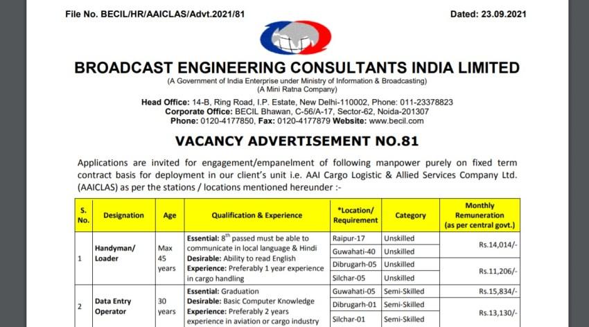 BECIL, BECIL Recruitment 2021, BECIL Job Notification, Sarkari Naukari