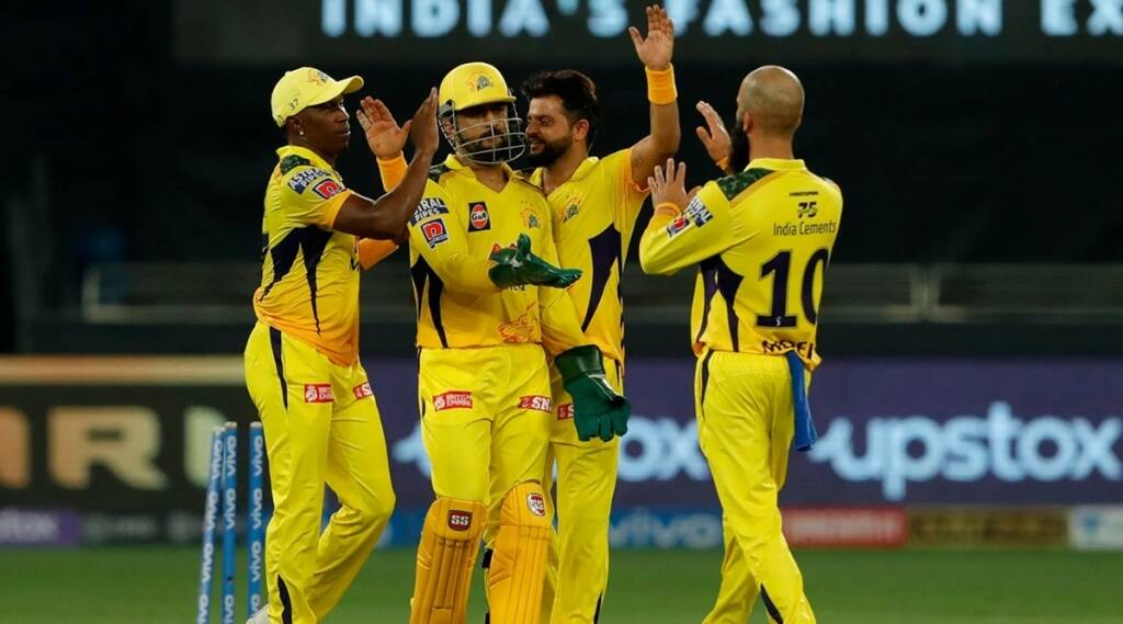 Chennai Super Kings celebrates the wicket of Krunal Pandya of Mumbai Indians