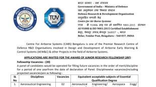 DRDO CABS Notification 2021, DRDO CABS Junior Research Fellowship Notification, DRDO CABS JRF Application, DRDO CABS JRF Application Date,