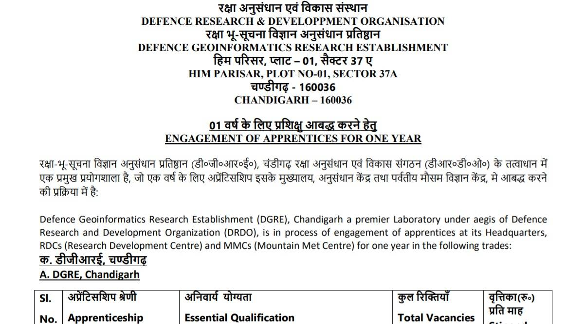 DRDO Recruitment 2021: Notification released for Apprentice Posts at www.drdo.gov.in.  Check here for eligibility criteria and other details