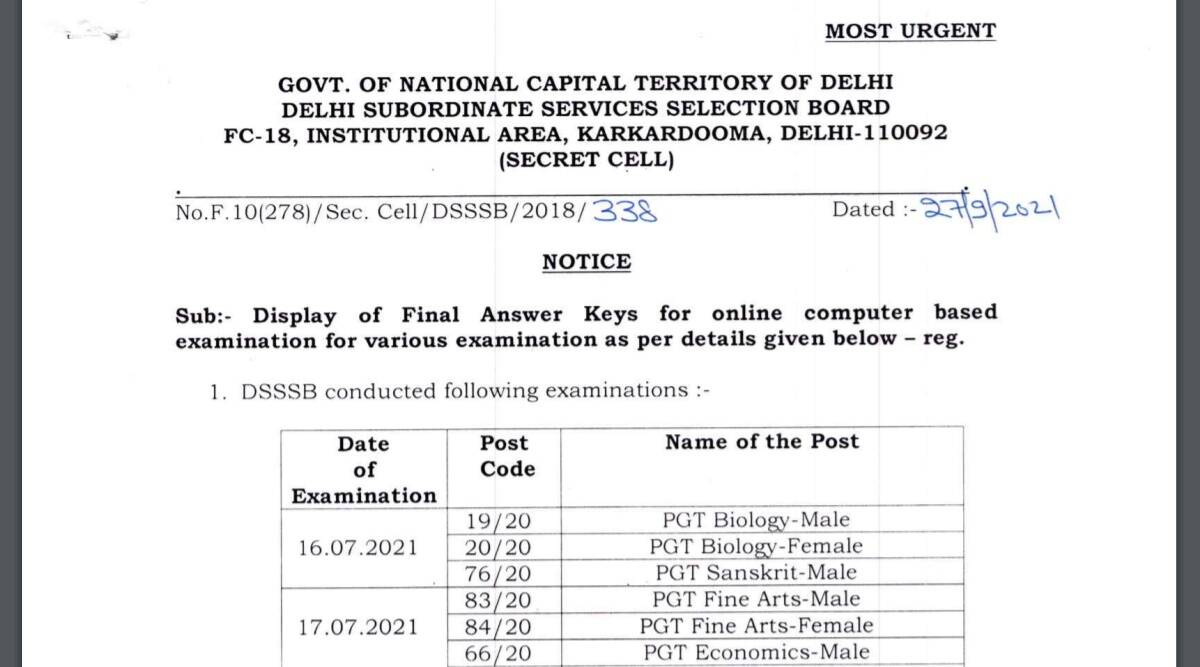 DSSSB Answer Key 2021: Final Answer Key released for PGT and other exams at dsssb.delhi.gov.in.  Download with these steps