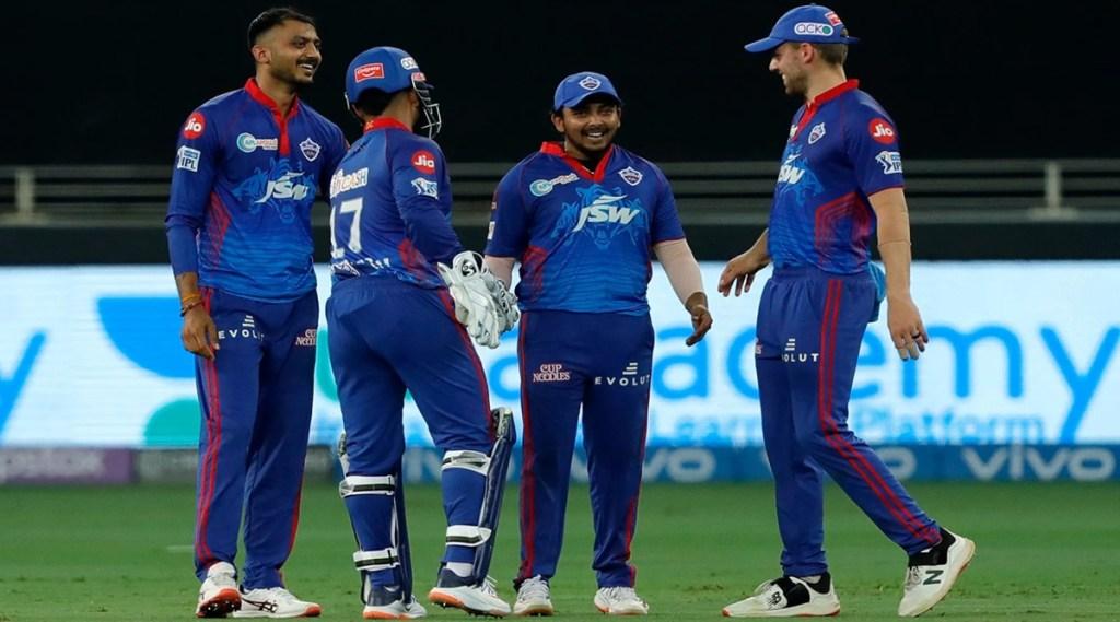 Delhi Capitals celebrates the wicket of Jason Holder of Sunrisers Hyderabad