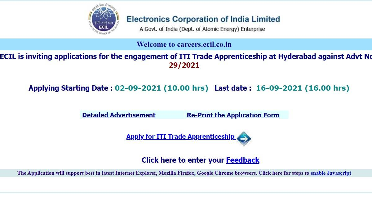 ECIL Recruitment 2021: Apply online for ITI Trade Apprenticeship Posts at www.ecil.co.in.  Check here for selection process and other details