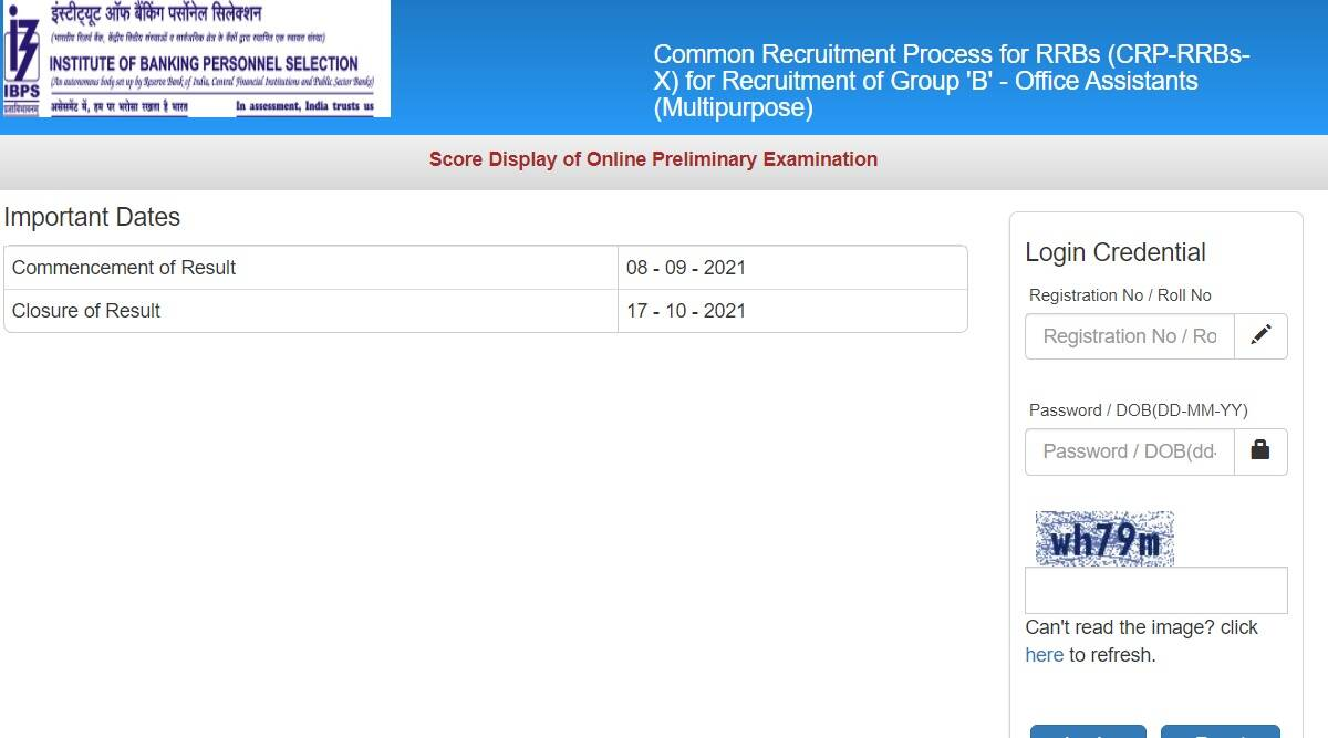 IBPS RRB Clerk Result 2021: Score Card released for preliminary exam at ibps.in.  Download with these steps