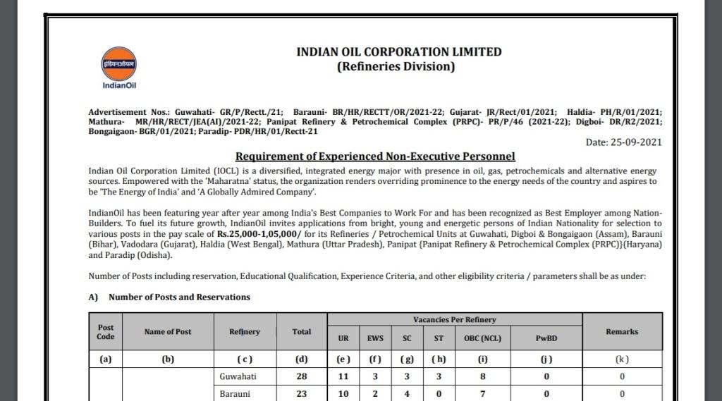 IOCL. IOCL Recruitment, Sarkari Naukari, Govt Job