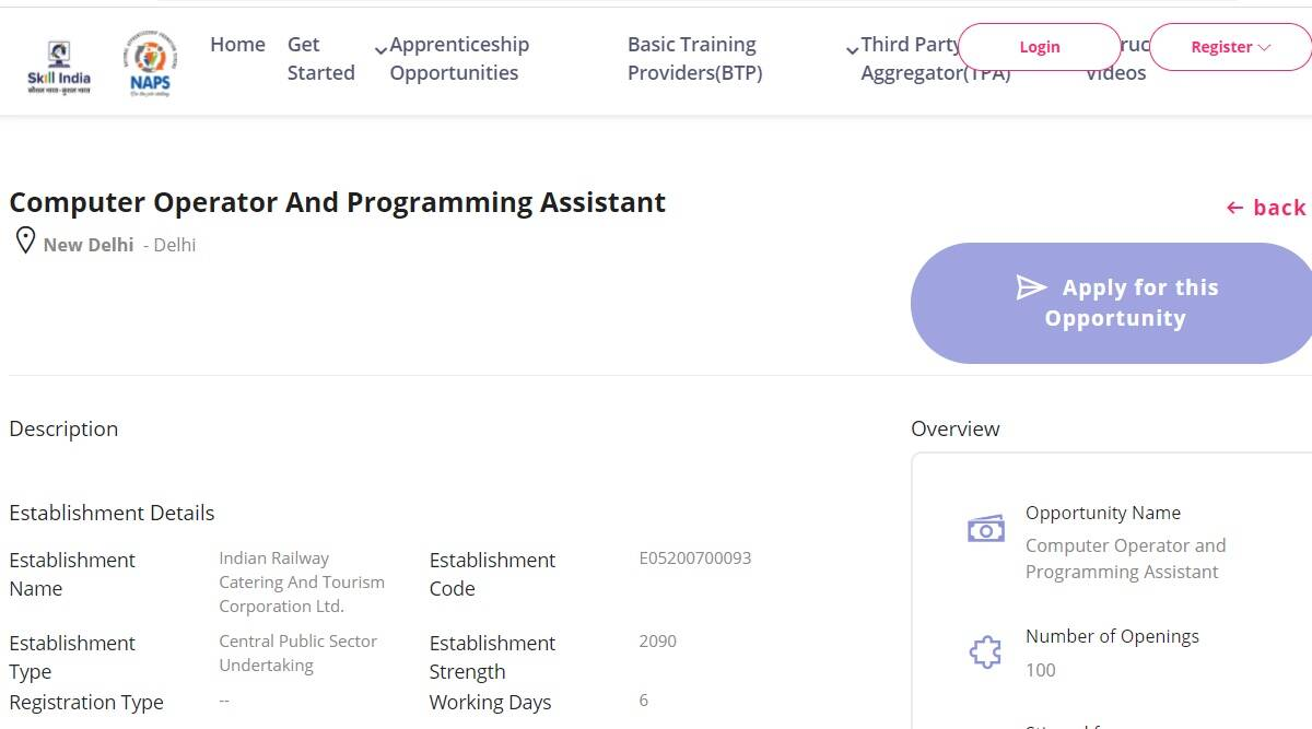 IRCTC Recruitment 2021: Apply online for Apprenticeship Posts at apprenticeshipindia.org.  Check here for details