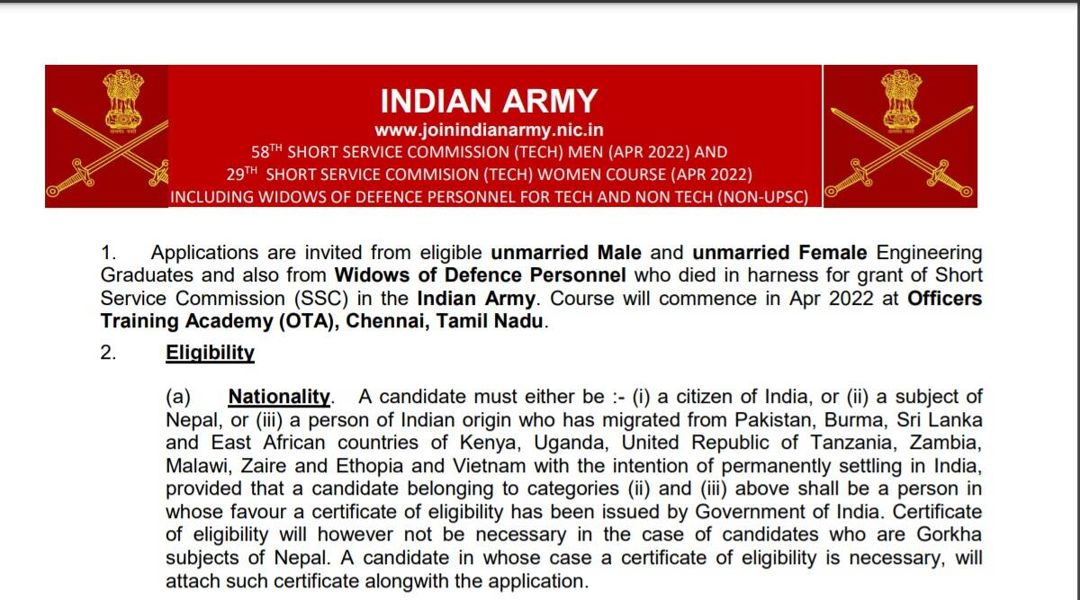 Indian Army Recruitment 2021: Apply online for Short Service Commission Technical Course at joinindianarmy.nic.in before 28 October.  Check here for latest updates