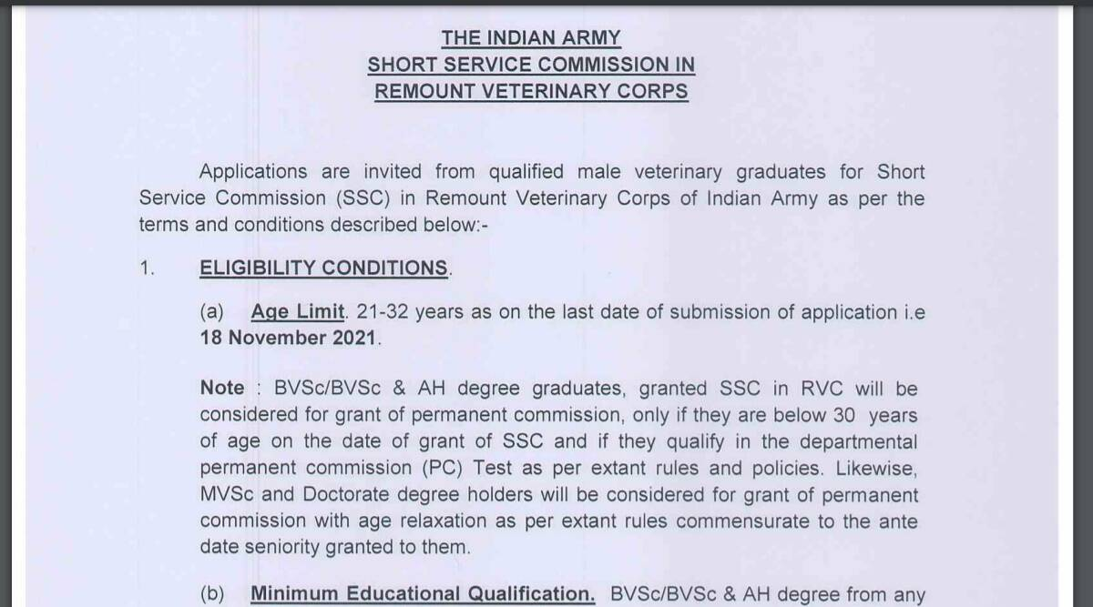 Indian Army Recruitment 2021: Apply offline for SSC RVC before 18 November.  Check here for eligibility criteria and other details