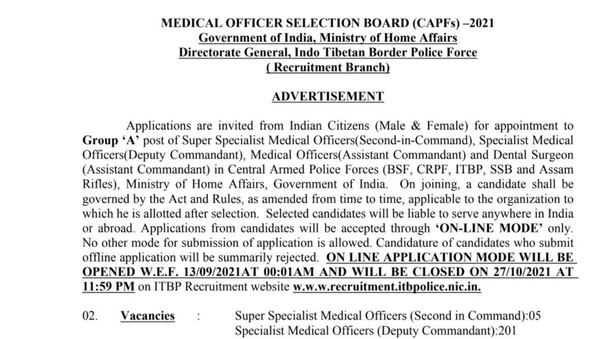 CAPF Recruitment 2021: Apply online for various posts at recruitment.itbppolice.nic.in.  Check here for selection process and other details