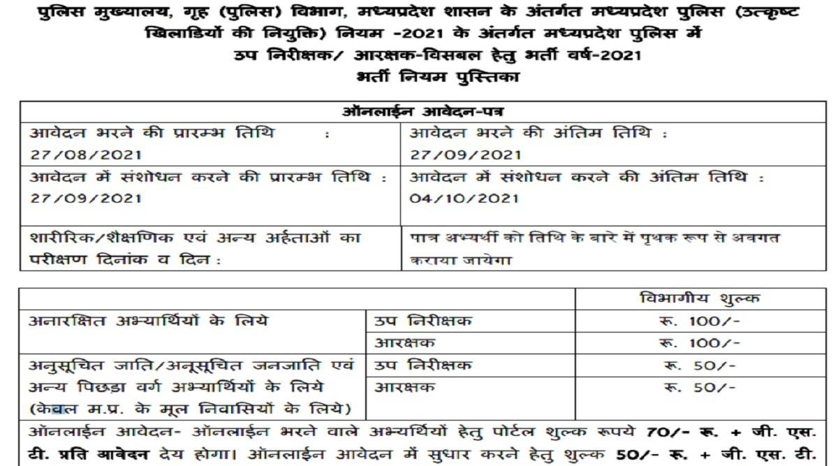 MP Police Recruitment 2021: Notification issued for recruitment to the posts of sub-inspector and constable at recruitment.mppolice.gov.in