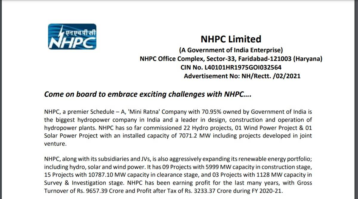 Sarkari Naukri 2021: Apply online for junior engineer and other posts at nhpcindia.com before 30 September.  Check here for details