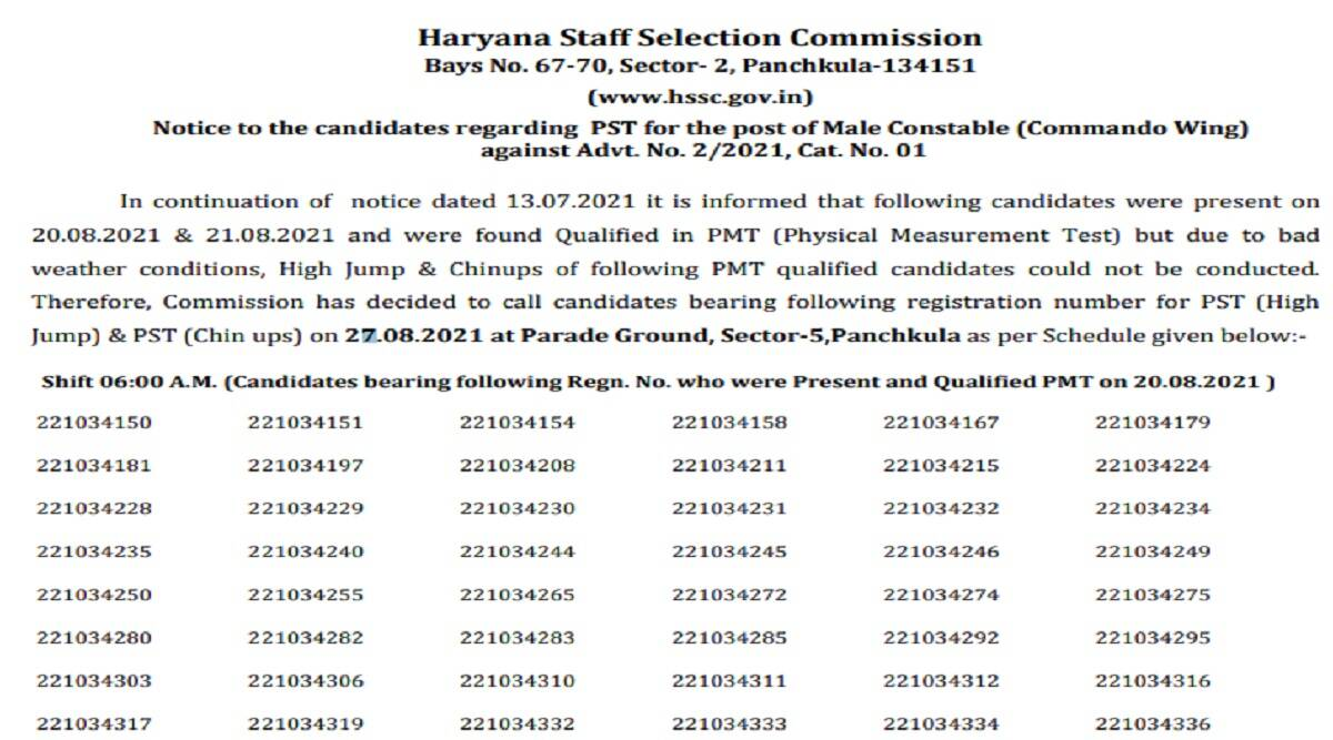 Police Commando Result 2021: Haryana Police Commando Result 2021 for Physical Test Out at hssc.gov.in