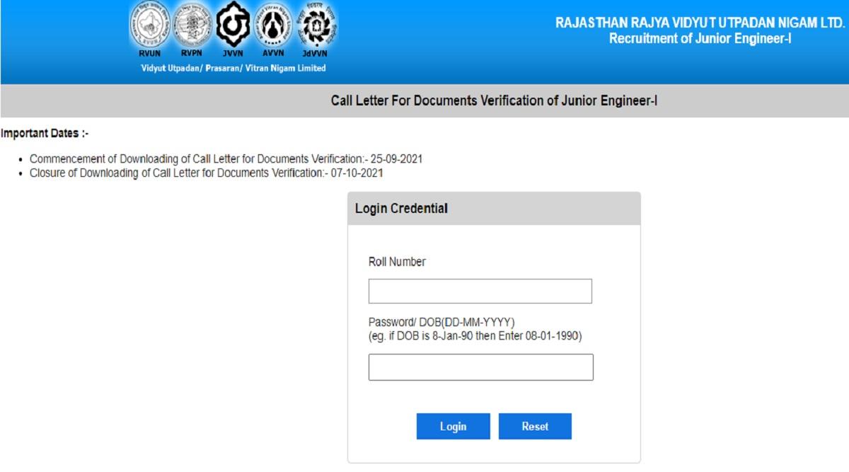RVUNL Admit Card 2021: RVUNL DV Admit Card 2021 Released for Assistant Junior Engineer Posts at energy.rajasthan.gov.in