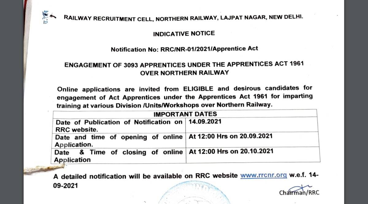 Railway Recruitment 2021: Short Notice released for Apprentice Posts at rrcnr.org.  Check here for latest updates