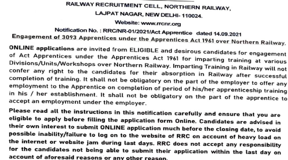 Railway Recruitment 2021: Northern Railway RRC Recruitment 2021 Online Application Started for 3093 Apprentice at rrcnr.org