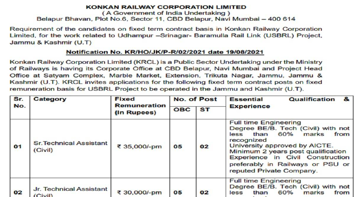 Railway Recruitment 2021: Technical Assistant Posts on konkanrailway.com No Written Test