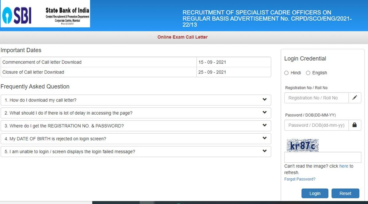 SBI Admit Card 2021: SBI has issued admit card for recruitment SBI SCO, here is the direct link to download
