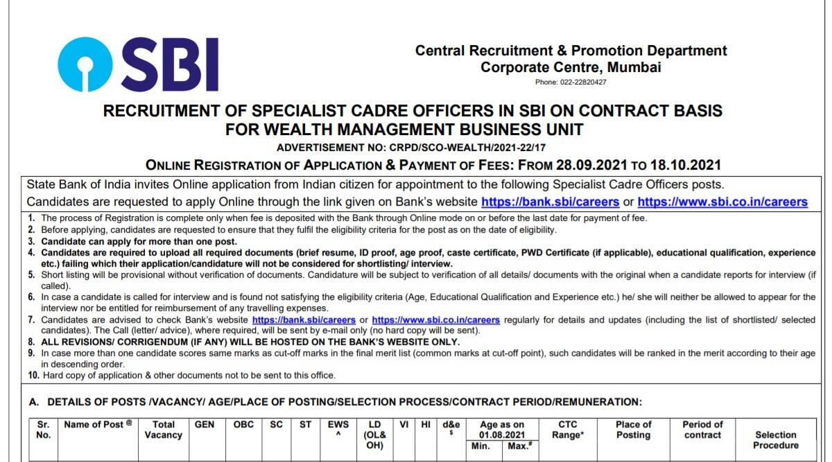 SBI Recruitment 2021: Apply online for Specialist Officer Posts at sbi.co.in before 18 October.  Check here for latest updates