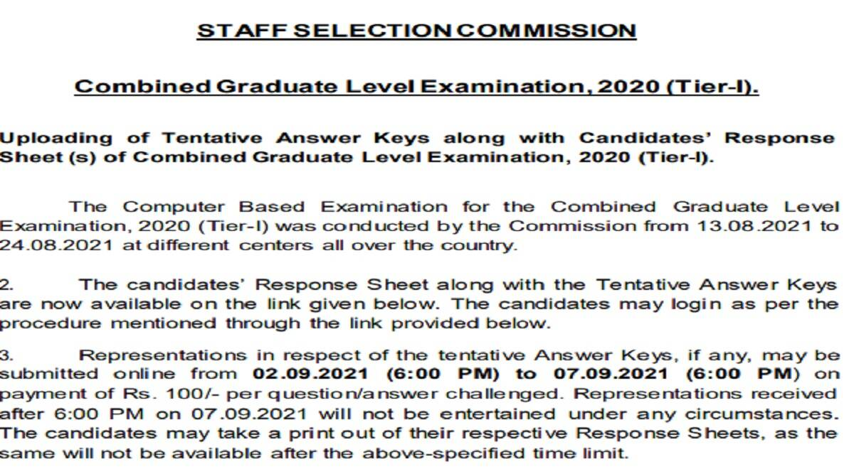 SSC CGL Answer Key 2021: Download Combined Graduate Level Response Sheet SSC CGL Answer Key 2021 Out at ssc.nic.in