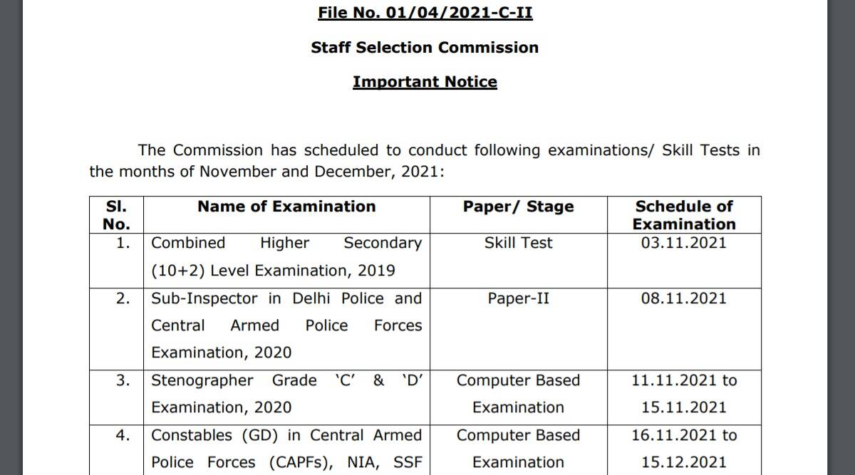 SSC Exam Notice 2021: Exam Notice out for GD Constable, CHSL and other exam at ssc.nic.in.  Check here for latest updates