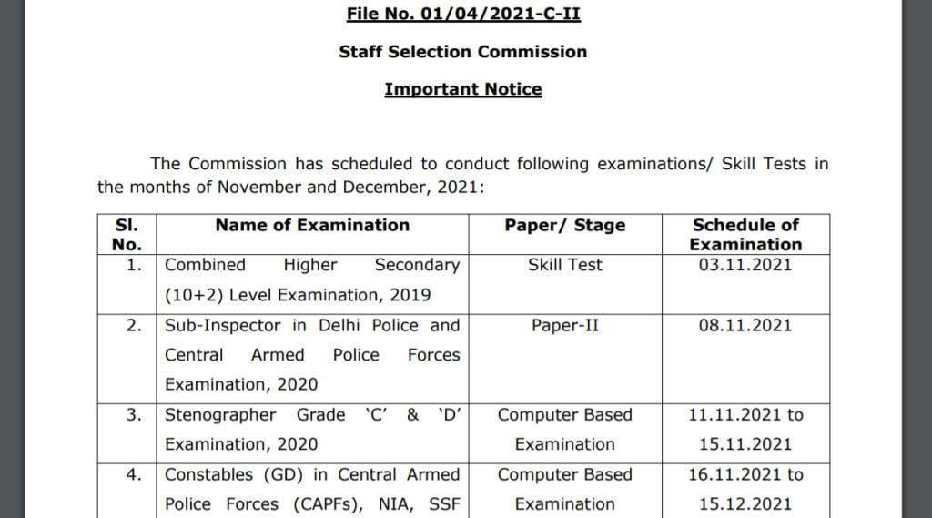 SSC Exam Notice, SSC Exam Notice 2021, SSC CHSL Exam 2019 Notice, SSC Stenographer Exam 2020 Notice, SSC GD Constable Exam 2021 Notice,