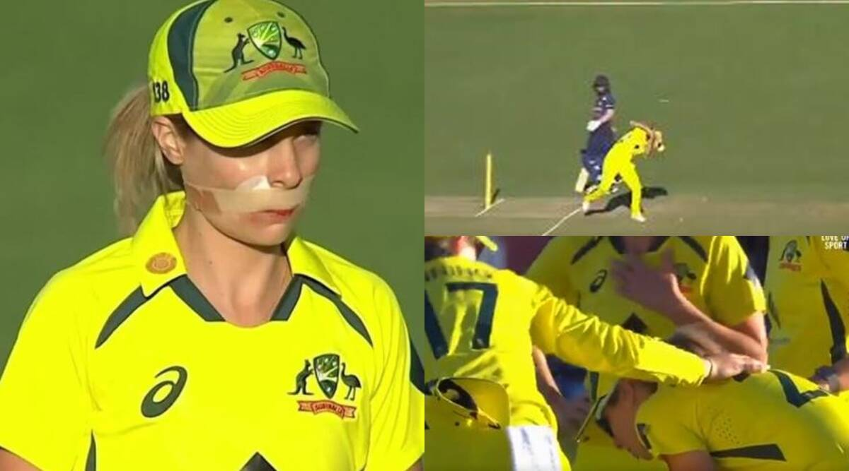 hit-on-face-of-australian-player-sophie-molineux-did-blood-vomiting-came-back-with-bandage-on-face-during-indw-vs-ausw-match-watch-video – Australian Players Vomiting of blood after hitting the ball in the mouth, the kangaroo player came back to field again with a bandage;  Watch Video