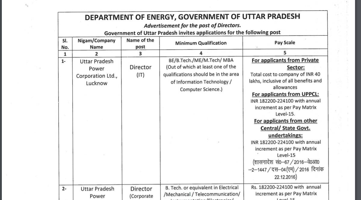 UPPCL Recruitment 2021: Apply online for Director Posts at upenergy.in before 28 September.  Check here for eligibility criteria and other details