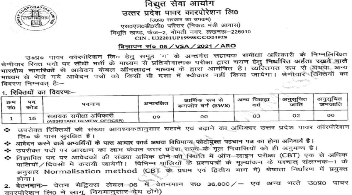UPPCL Recruitment 2021: UPPCL Recruitment 2021 Notification OUT for ARO, Camp Assistant and Assistant Accountant Posts at upenergy.in