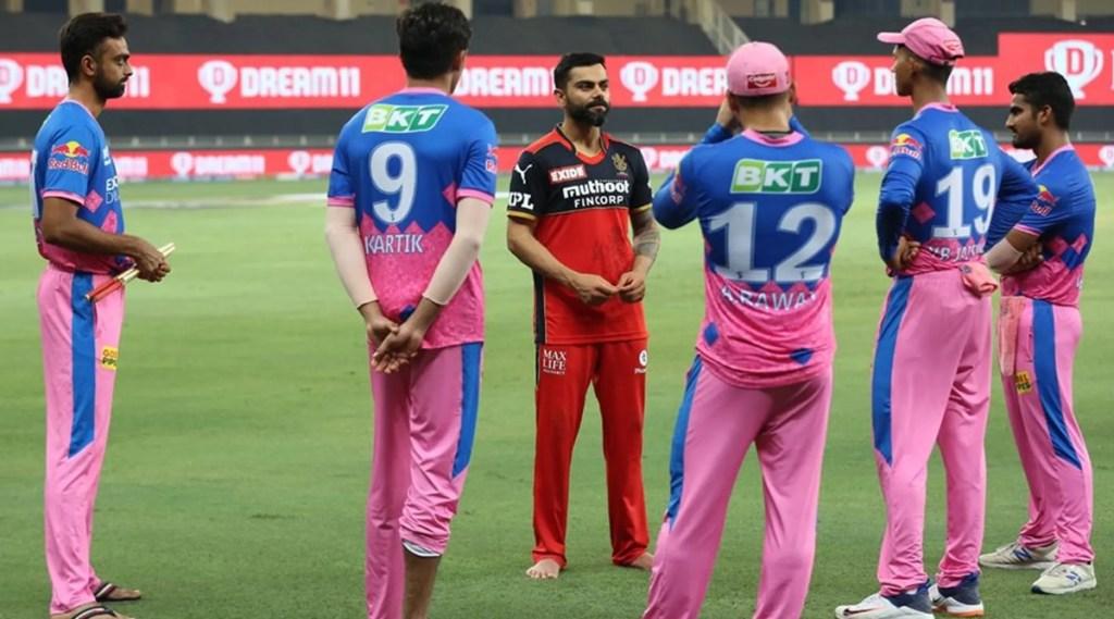 Virat Kohli captain of Royal Challengers Bangalore talk with Rajasthan Royals