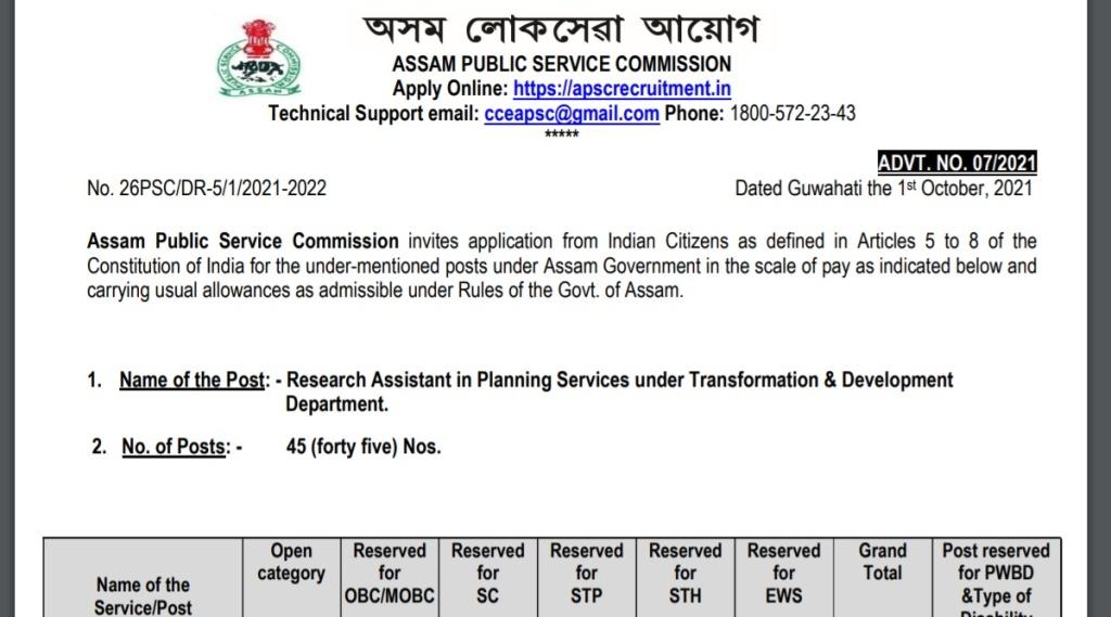 APSC, APSC Recruitment, Research Assistant Recruitment 2021, Sarkari Naukari
